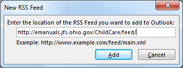 New RSS Feed dialog box